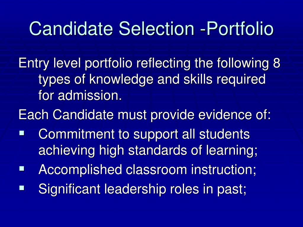 Candidate Selection -Portfolio