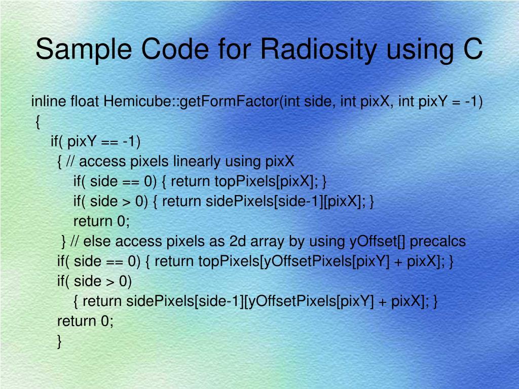 Sample Code for Radiosity using C