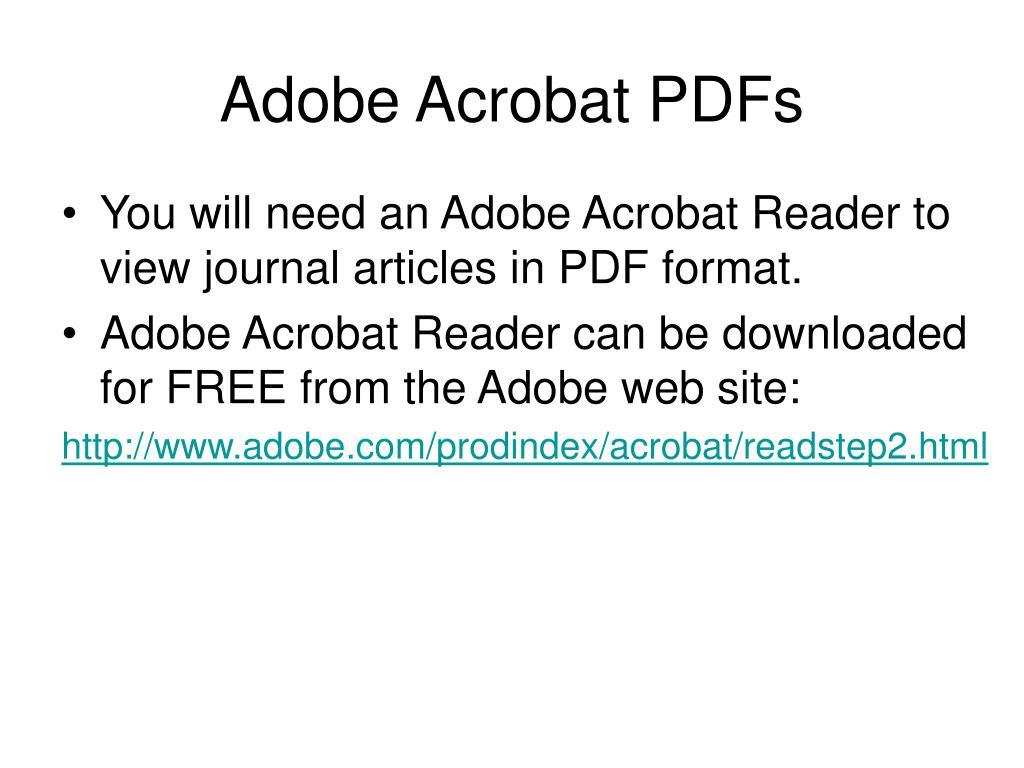 Adobe Acrobat PDFs