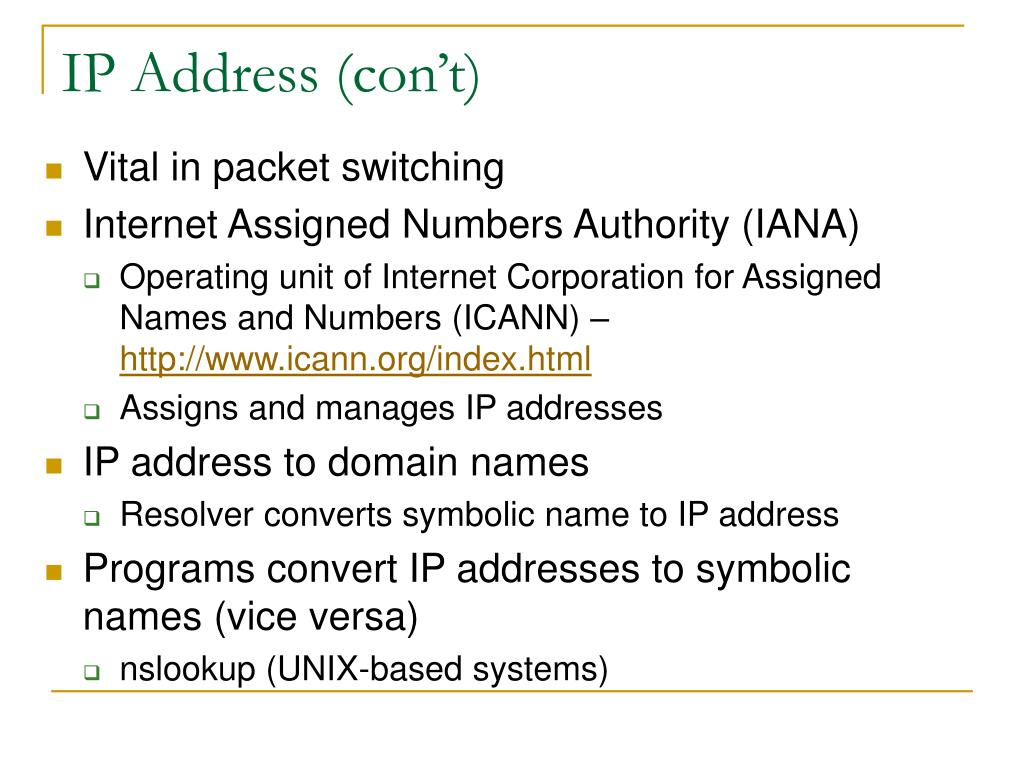 IP Address (con't)