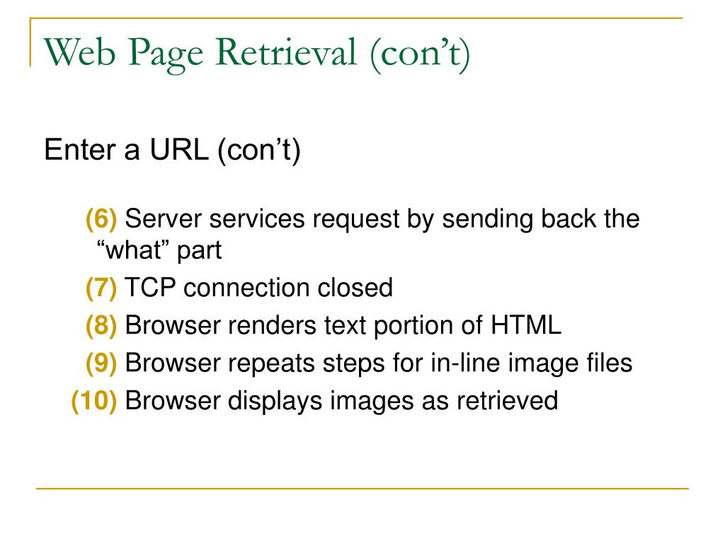 Web Page Retrieval (con't)