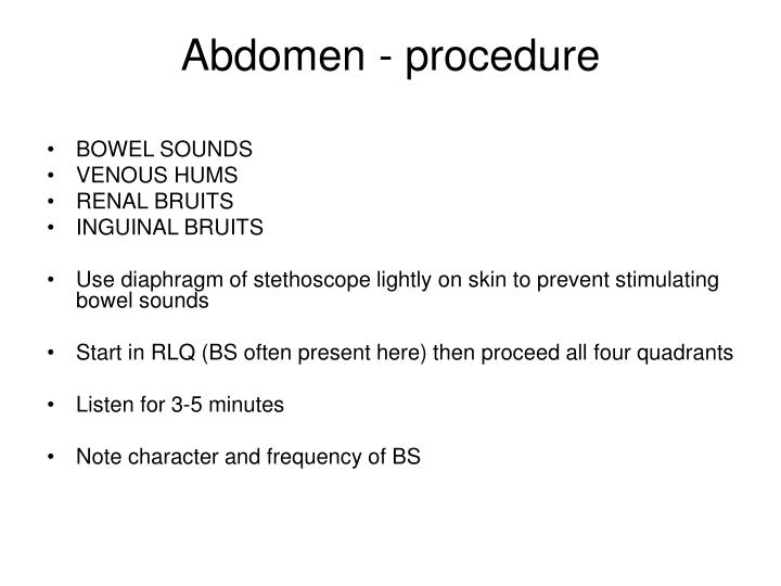 Abdomen - procedure