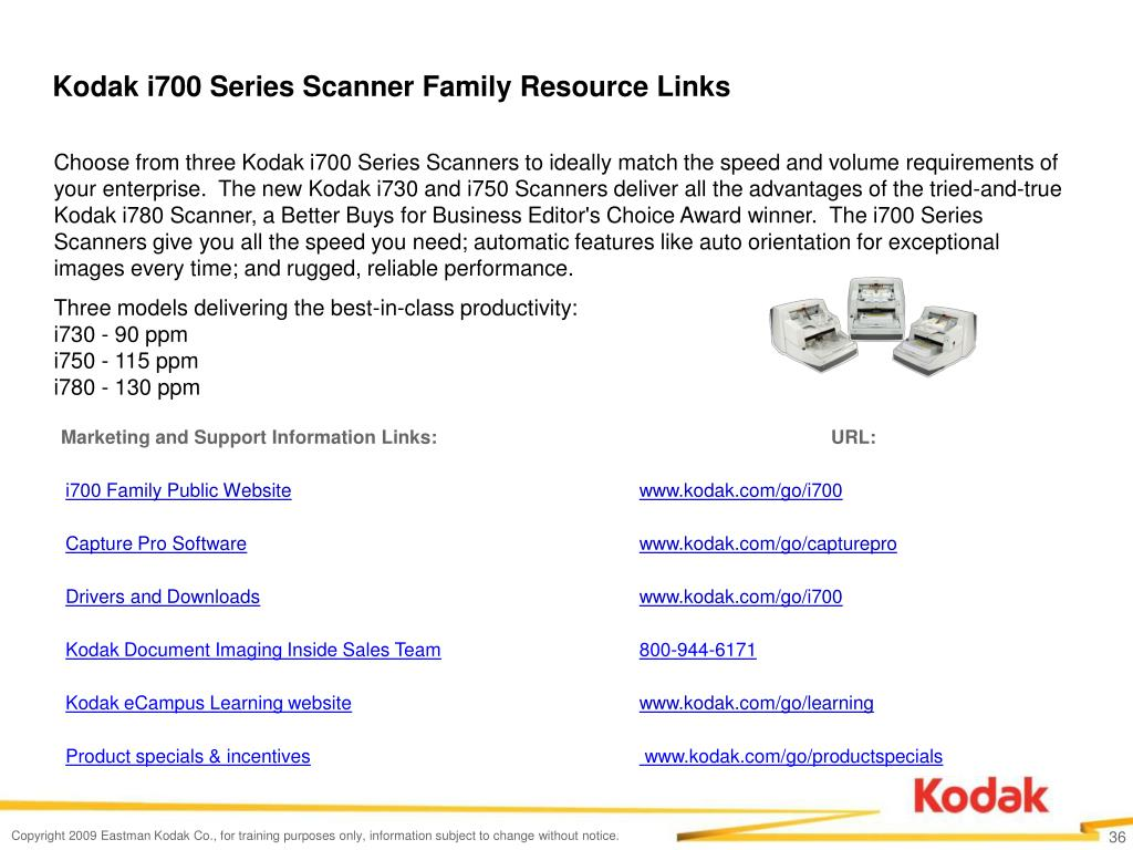 Kodak i700 Series Scanner Family Resource Links