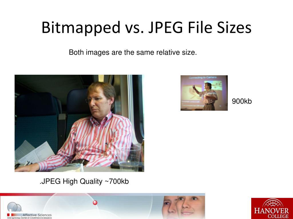 Bitmapped vs. JPEG File Sizes