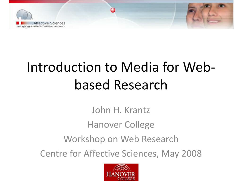 Introduction to Media for Web-based Research