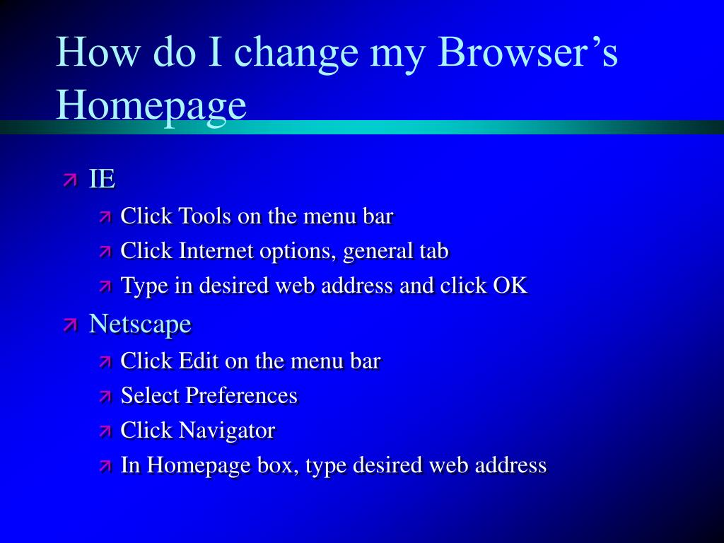 How do I change my Browser's Homepage