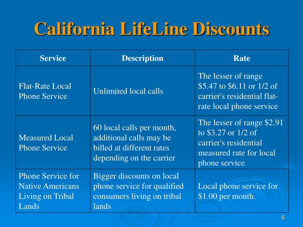 California LifeLine Discounts