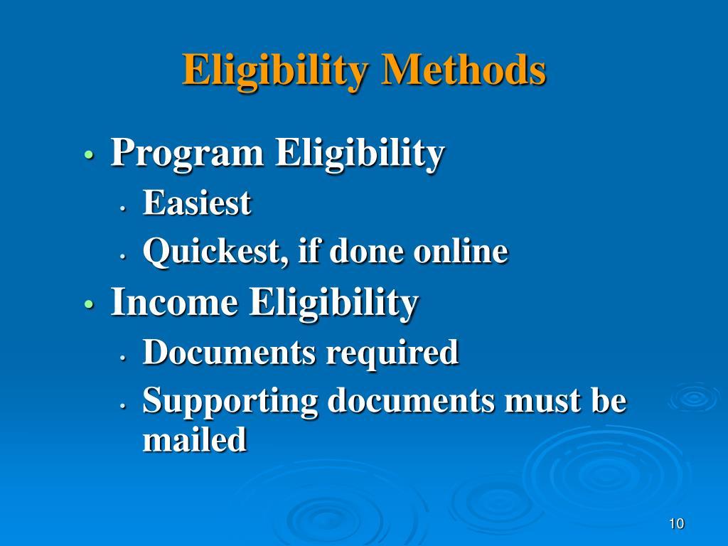 Eligibility Methods
