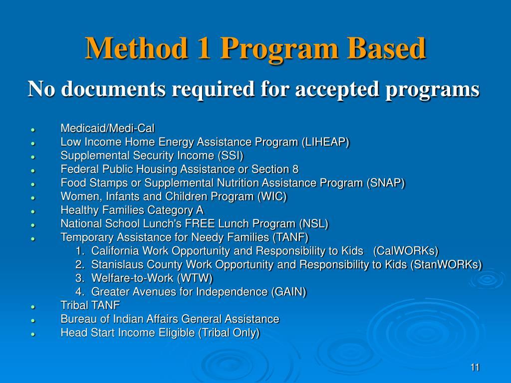 Method 1 Program Based