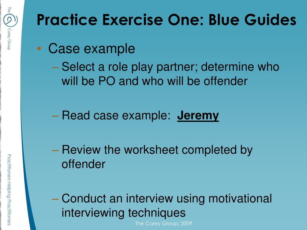 Practice Exercise One: Blue Guides