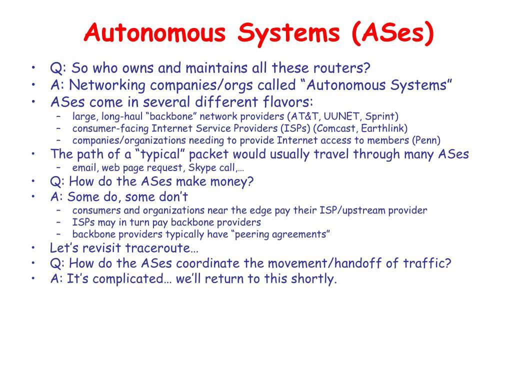 Autonomous Systems (ASes)