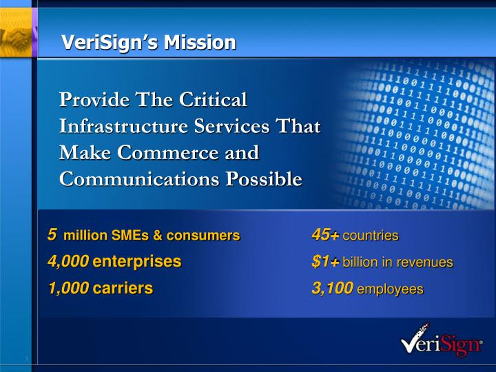Verisign s mission