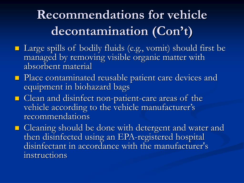 Recommendations for vehicle decontamination (Con't)
