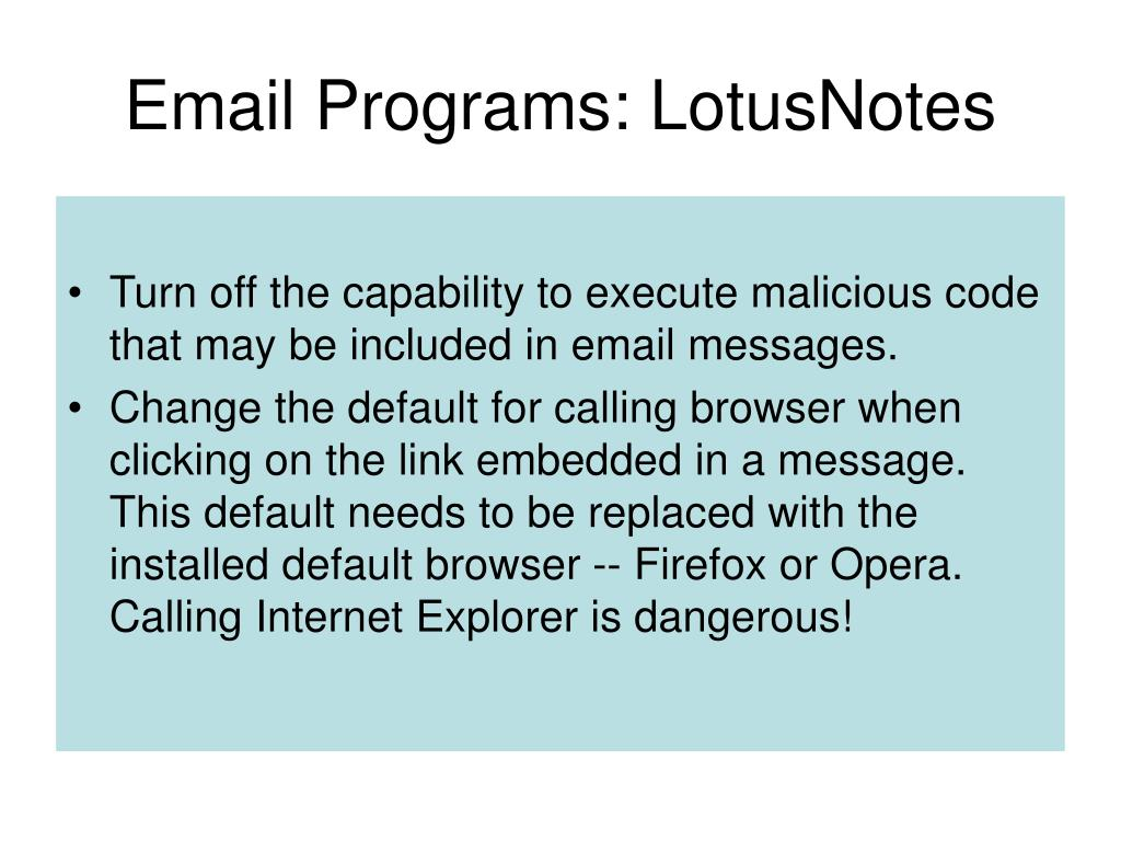 Email Programs: LotusNotes
