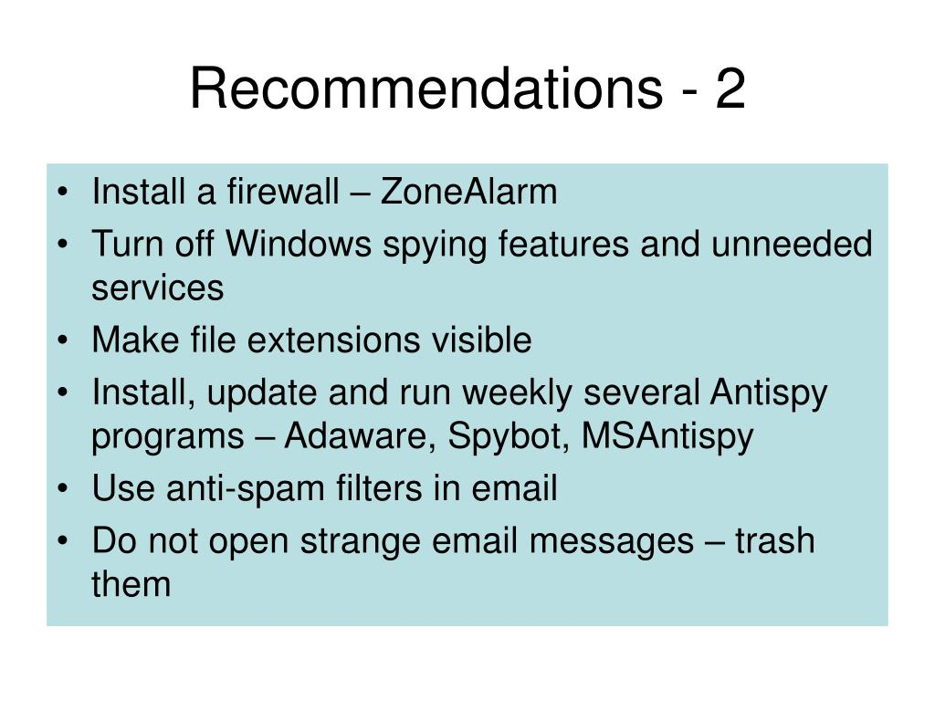 Recommendations - 2