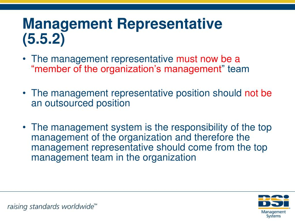 The management representative