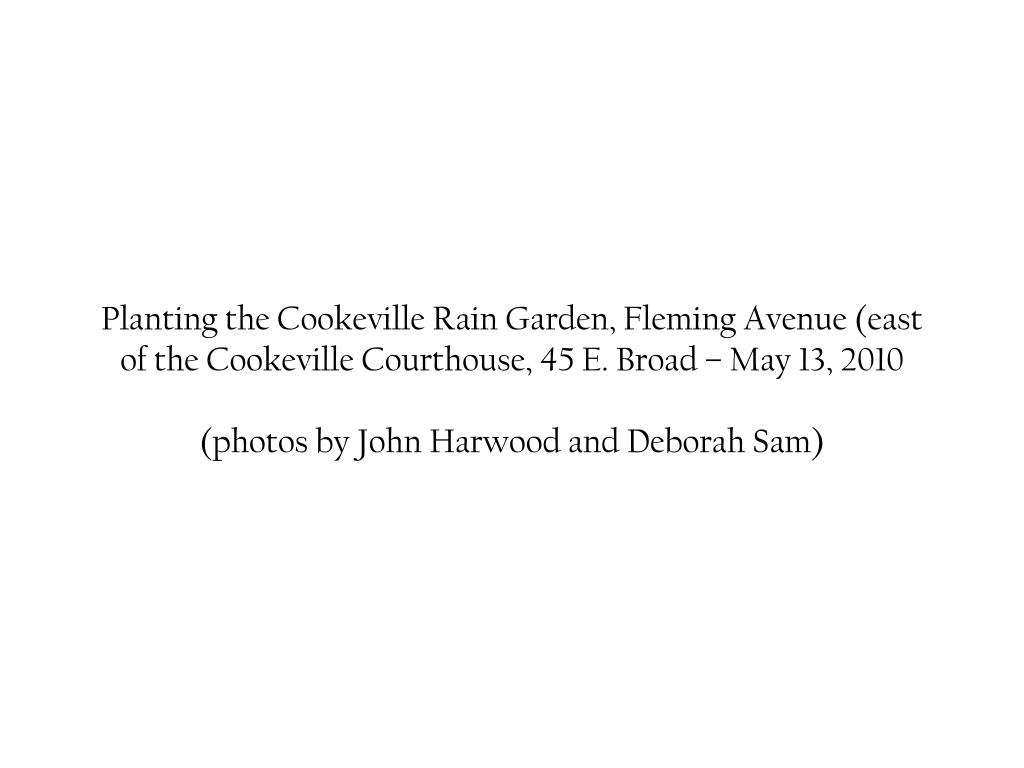 Planting the Cookeville Rain Garden, Fleming Avenue (east of the Cookeville Courthouse, 45 E. Broad – May 13, 2010