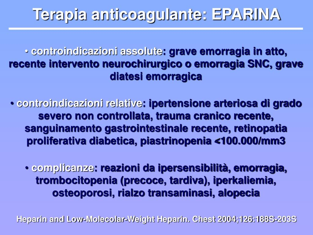 Terapia anticoagulante: EPARINA