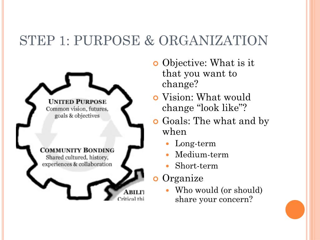STEP 1: PURPOSE & ORGANIZATION
