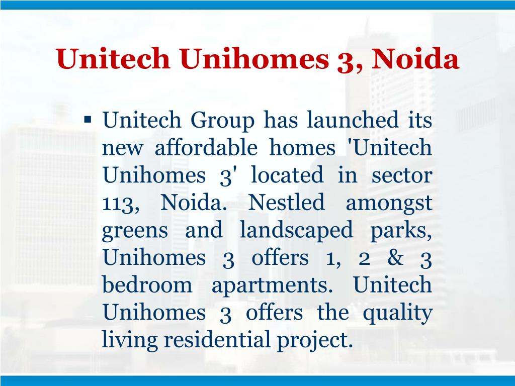 Unitech Unihomes 3, Noida