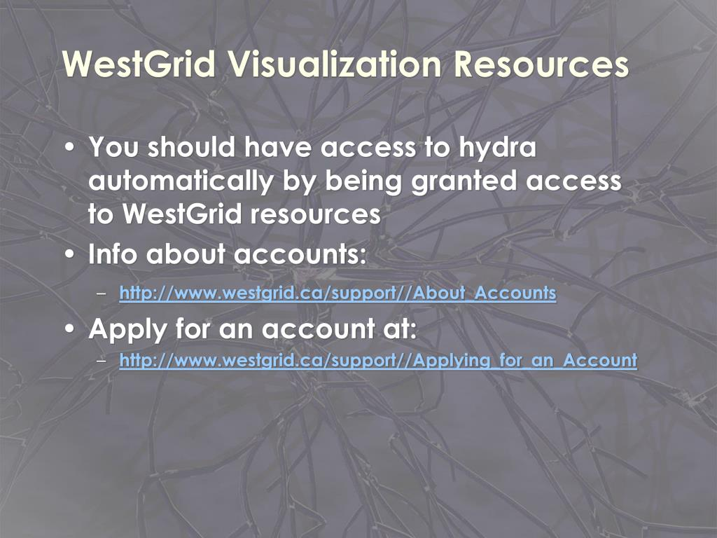 WestGrid Visualization Resources