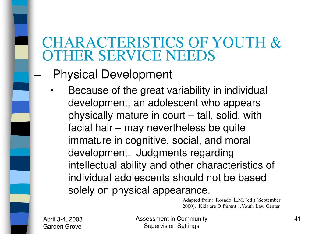 CHARACTERISTICS OF YOUTH & OTHER SERVICE NEEDS