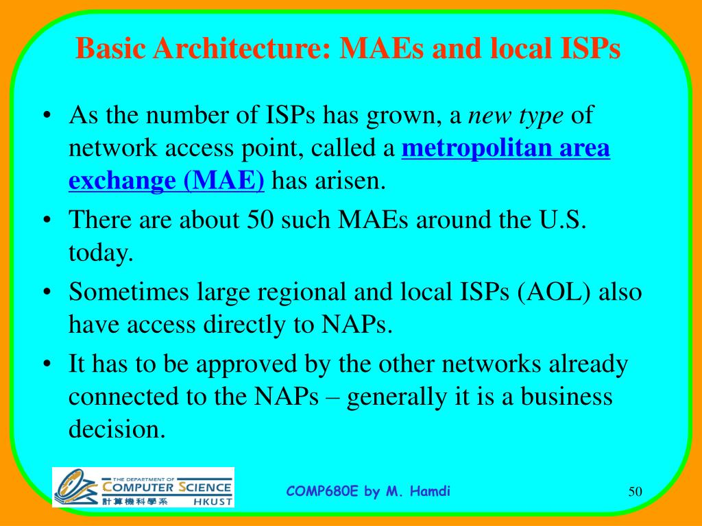 Basic Architecture: MAEs and local ISPs