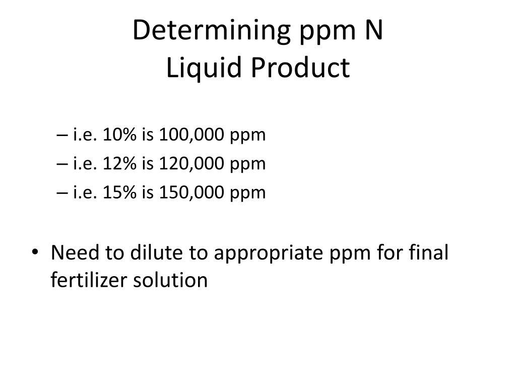 Determining ppm N