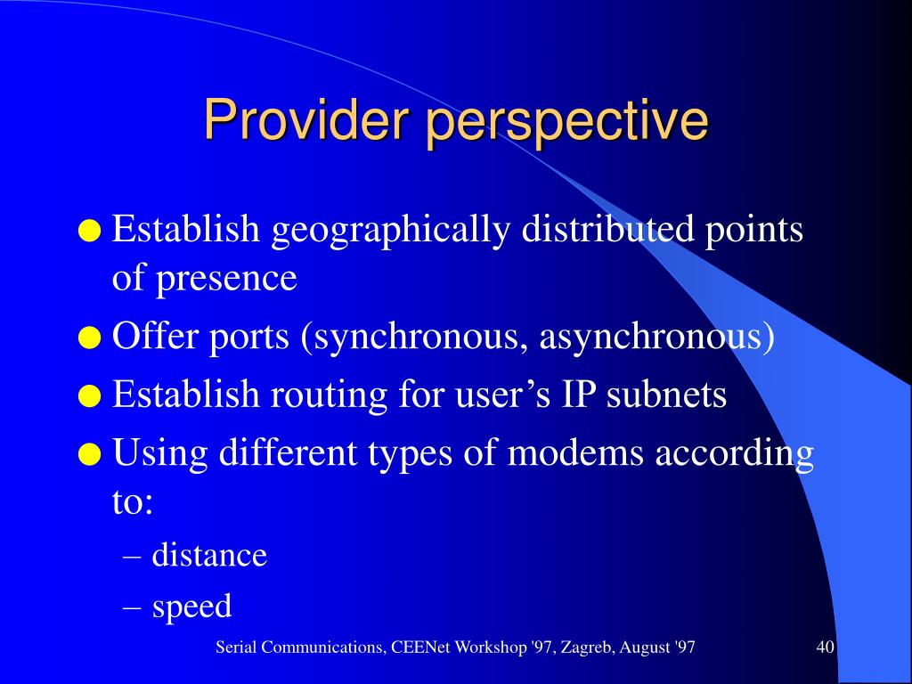 Provider perspective