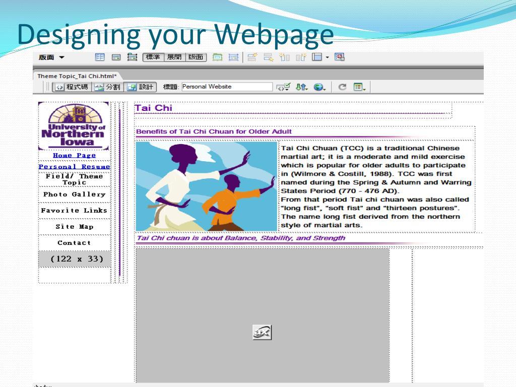 Designing your Webpage