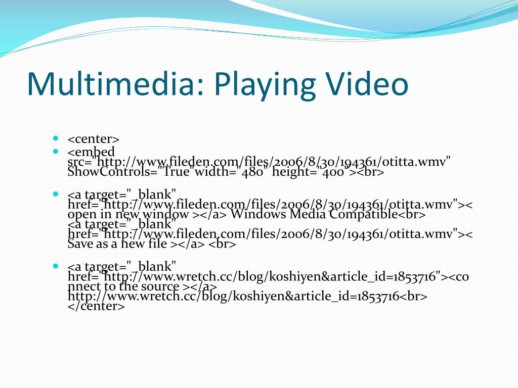 Multimedia: Playing Video