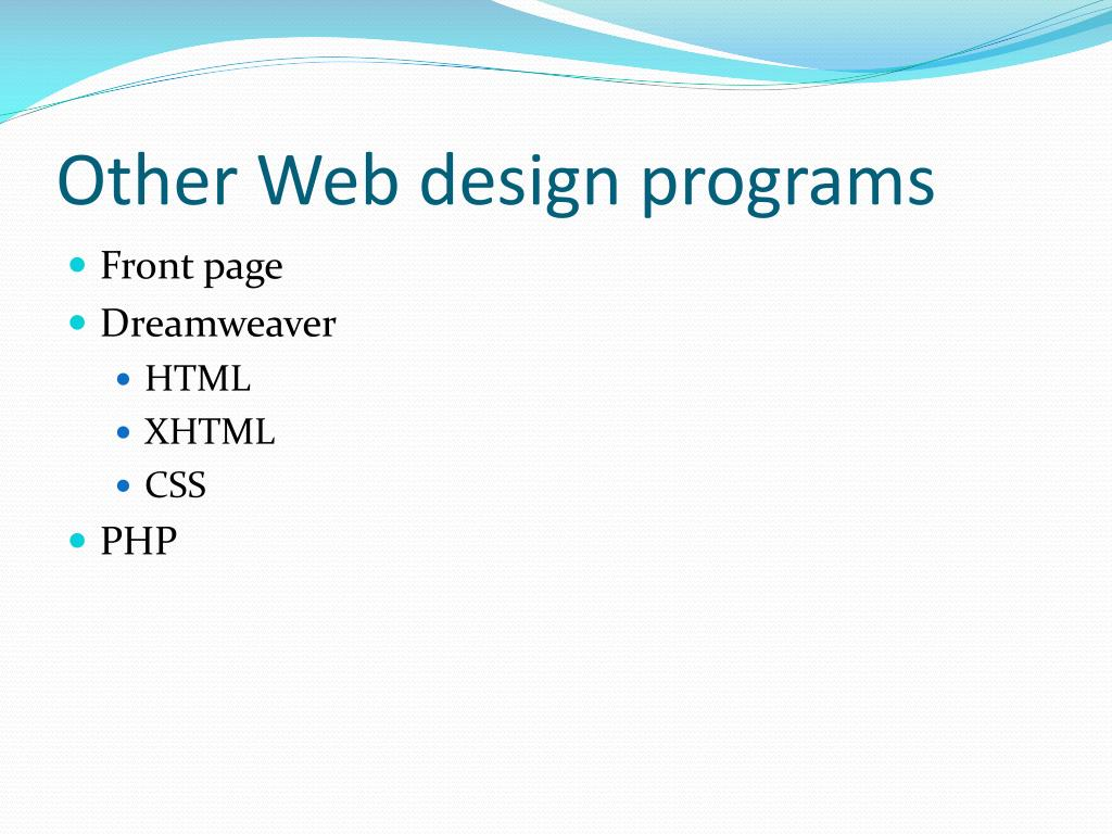 Other Web design programs