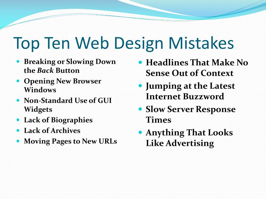 Top Ten Web Design Mistakes