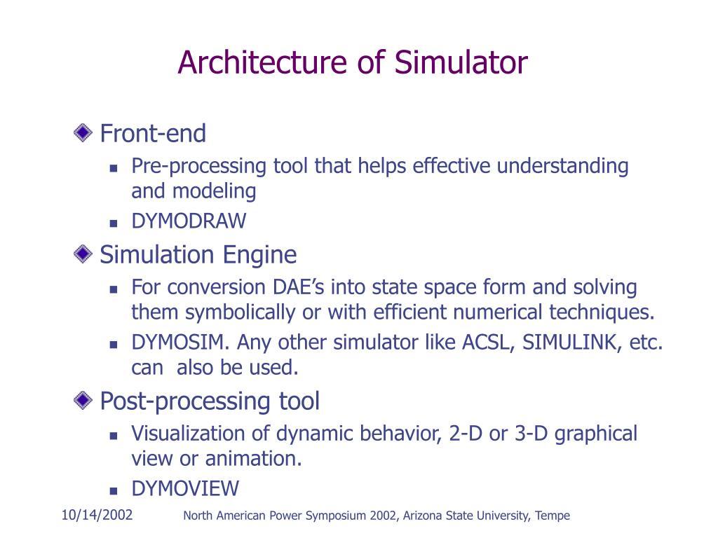 Architecture of Simulator