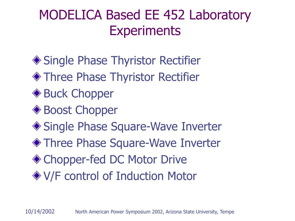 MODELICA Based EE 452 Laboratory Experiments