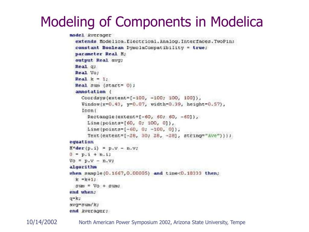 Modeling of Components in Modelica