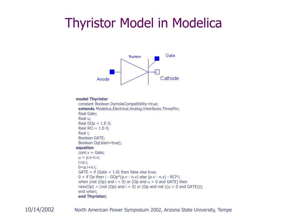 Thyristor Model in Modelica