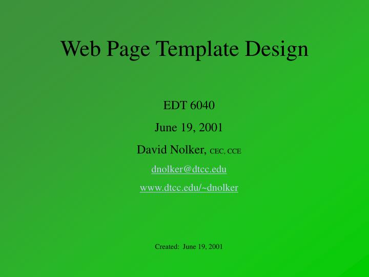 Web page template design