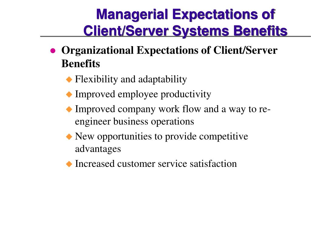 Managerial Expectations of