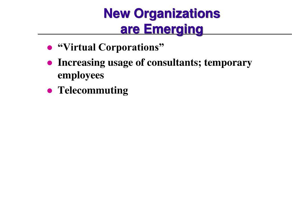 New Organizations