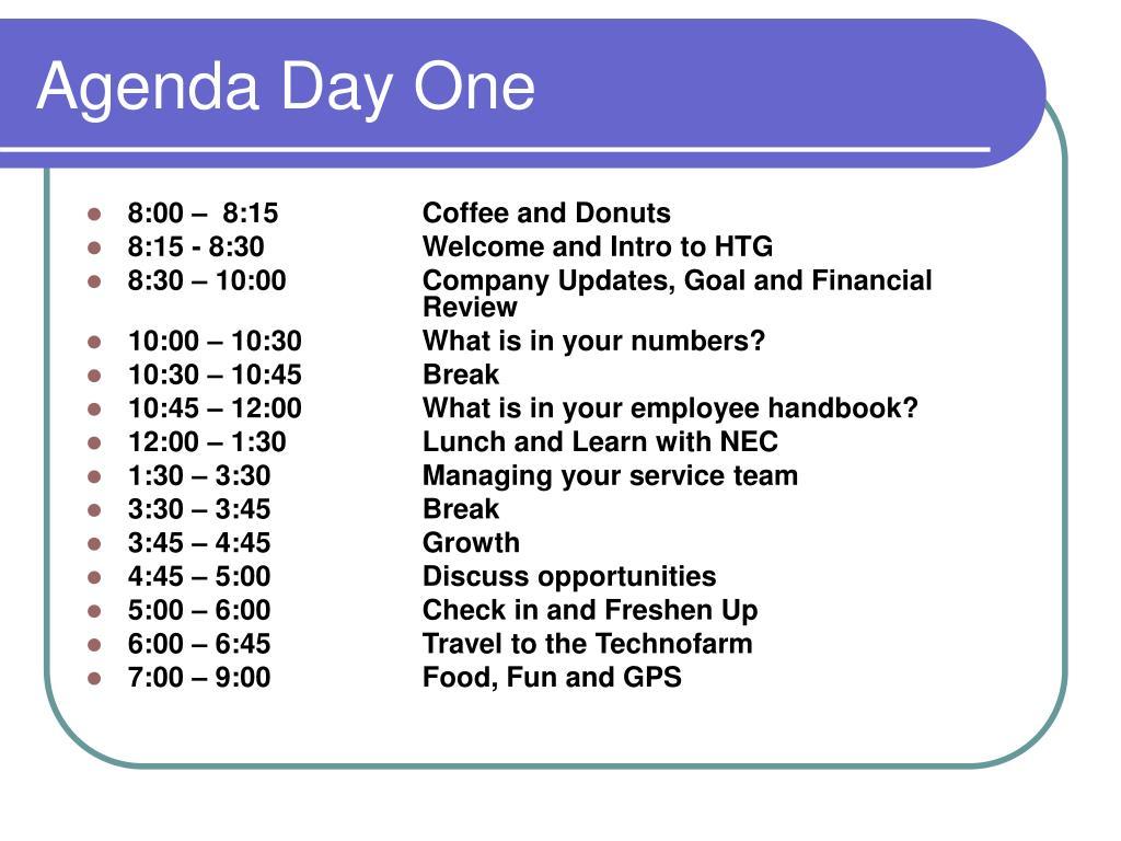 Agenda Day One