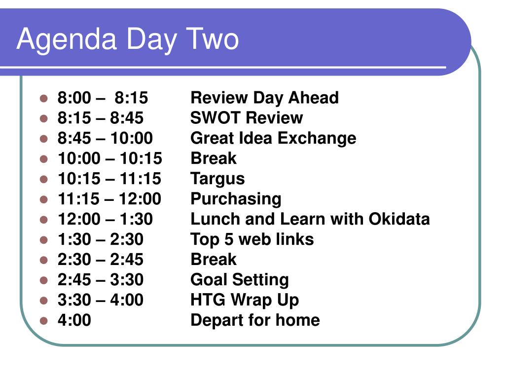 Agenda Day Two