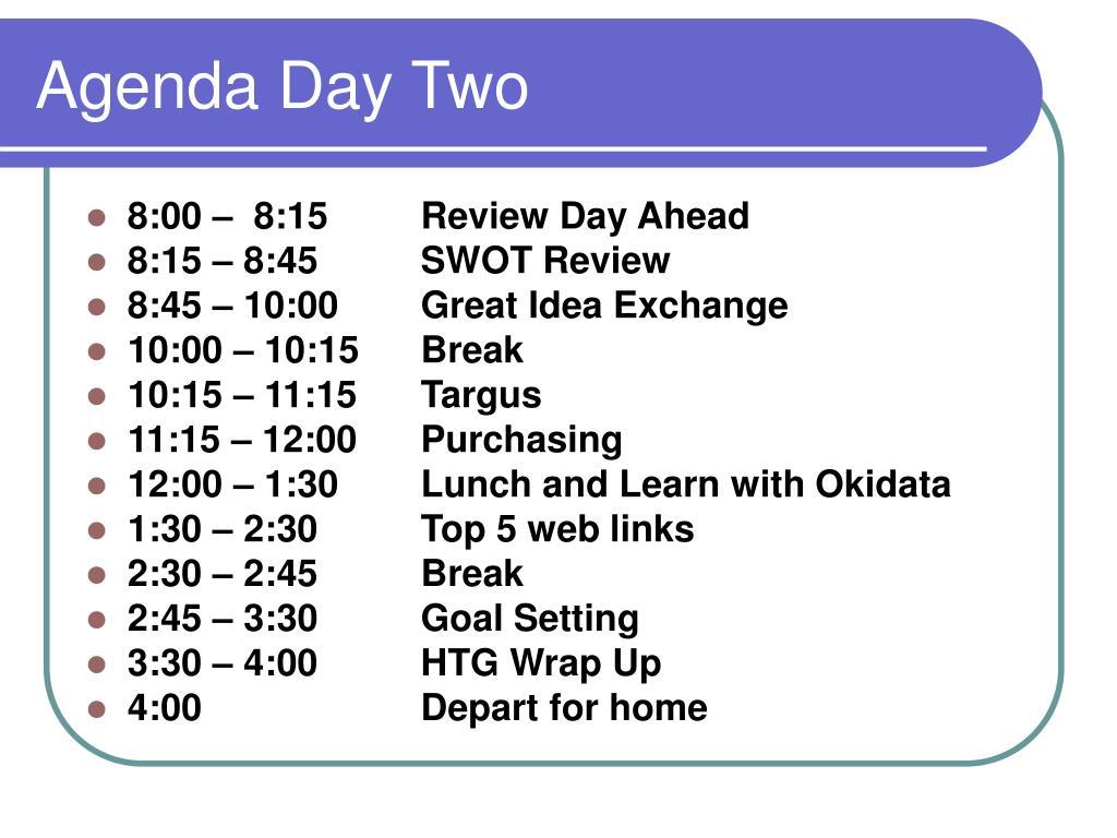 Agenda Day Two