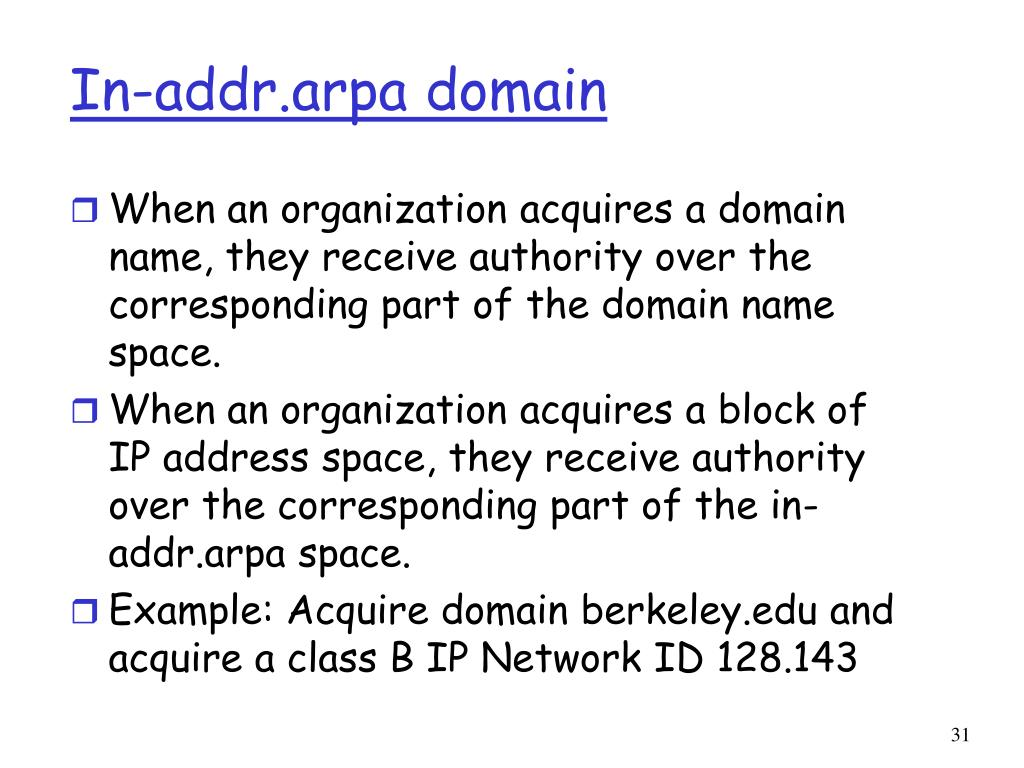 In-addr.arpa domain