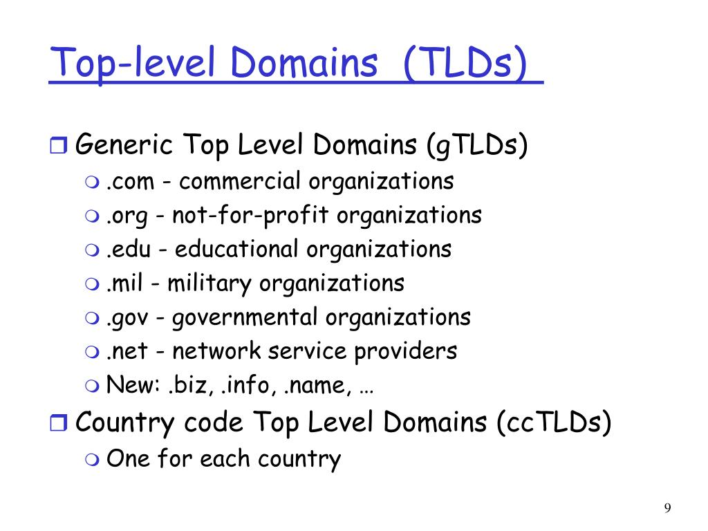 Top-level Domains	(TLDs)