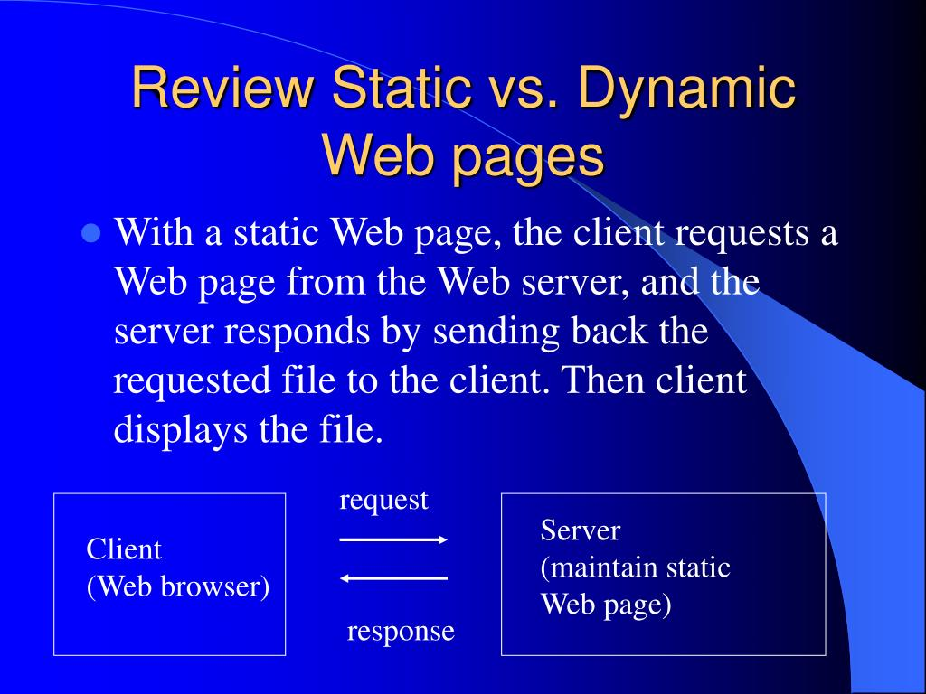 Review Static vs. Dynamic Web pages