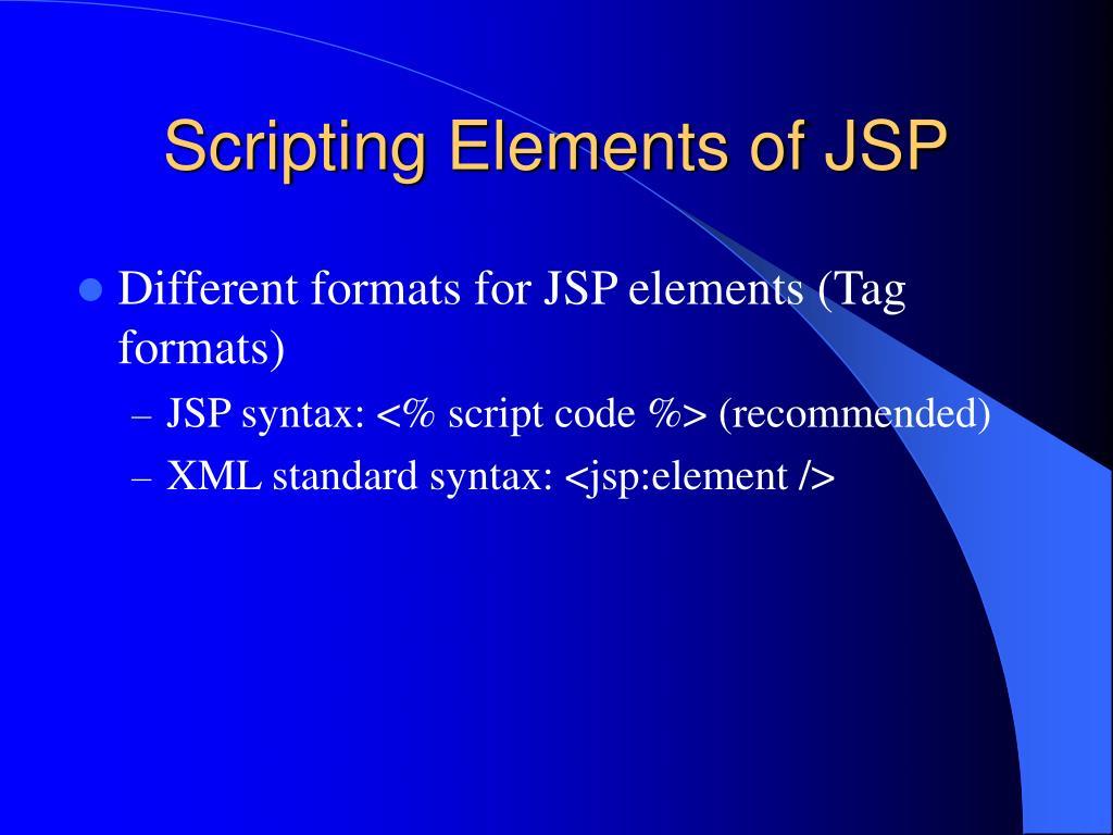 Scripting Elements of JSP