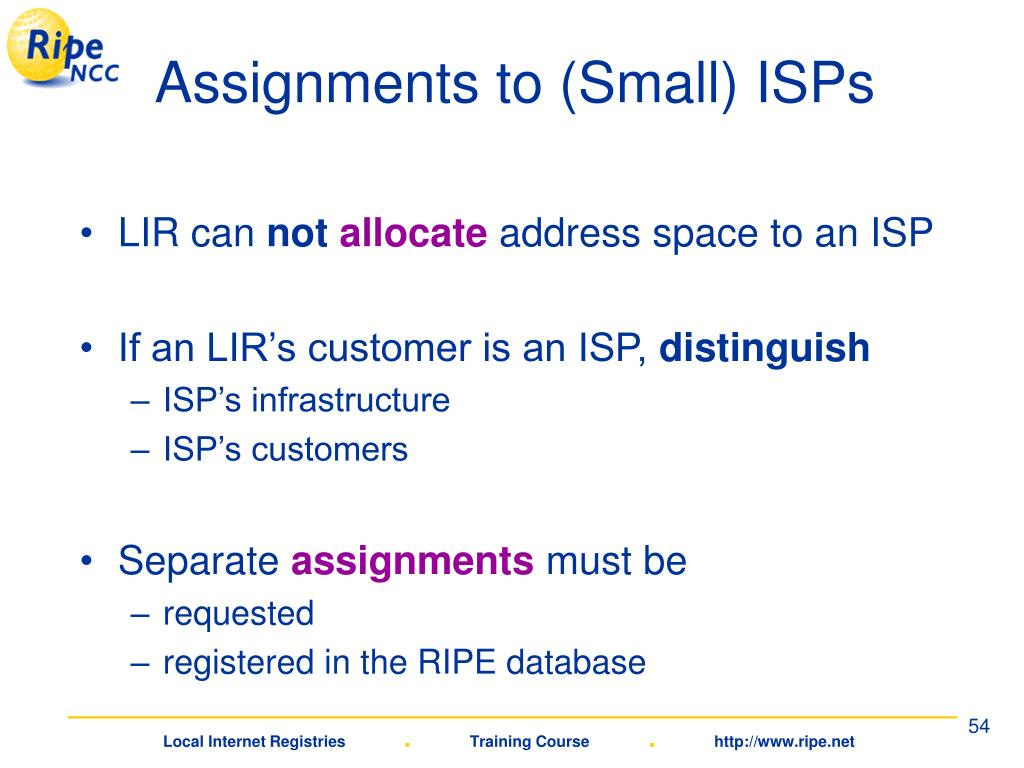 Assignments to (Small) ISPs