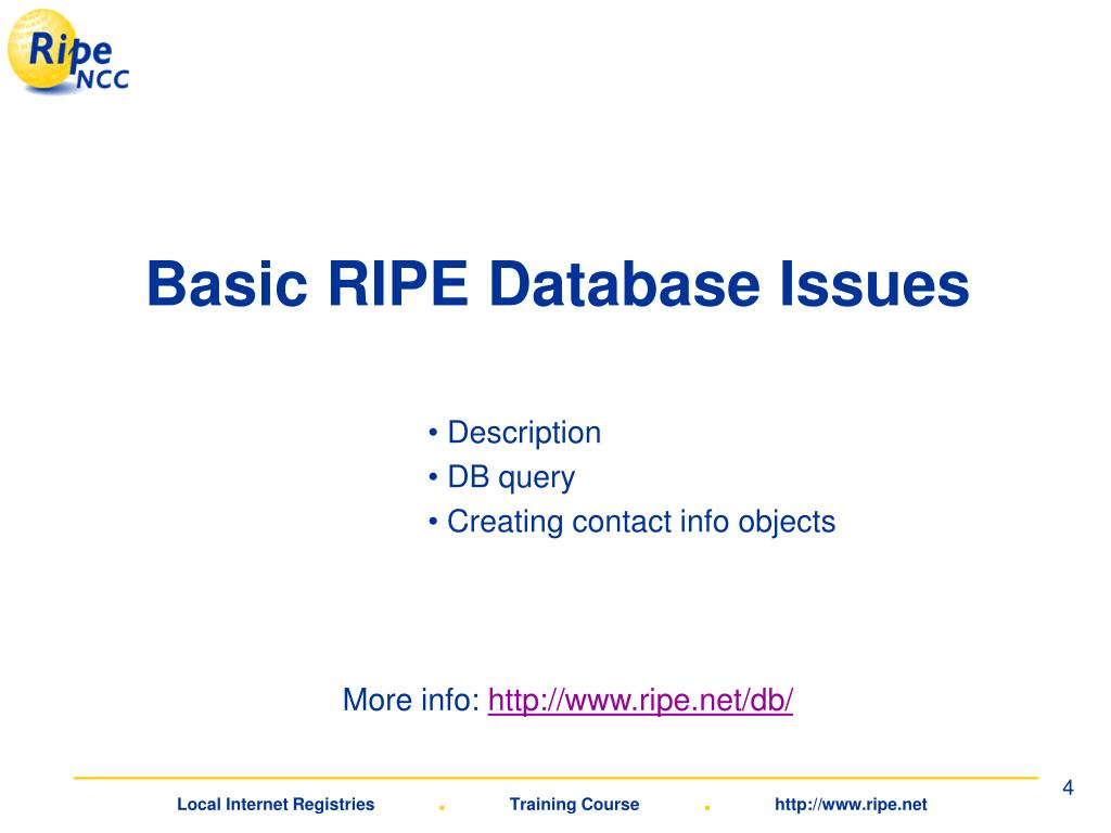 Basic RIPE Database Issues