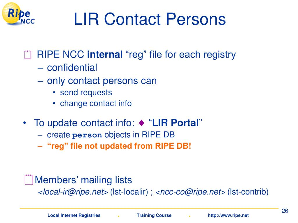 LIR Contact Persons